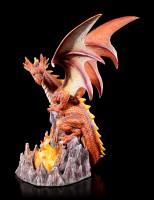 Drachen Figur - Volcanic Victory mit LED im Feuer
