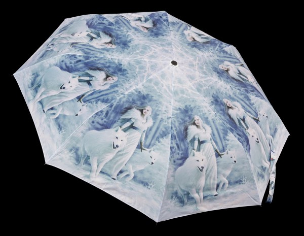 Umbrella with Wolves - Winter Guardians