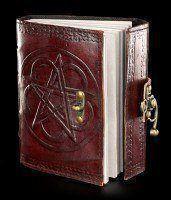 Leder Notizbuch - Pentagramm mit Schloss