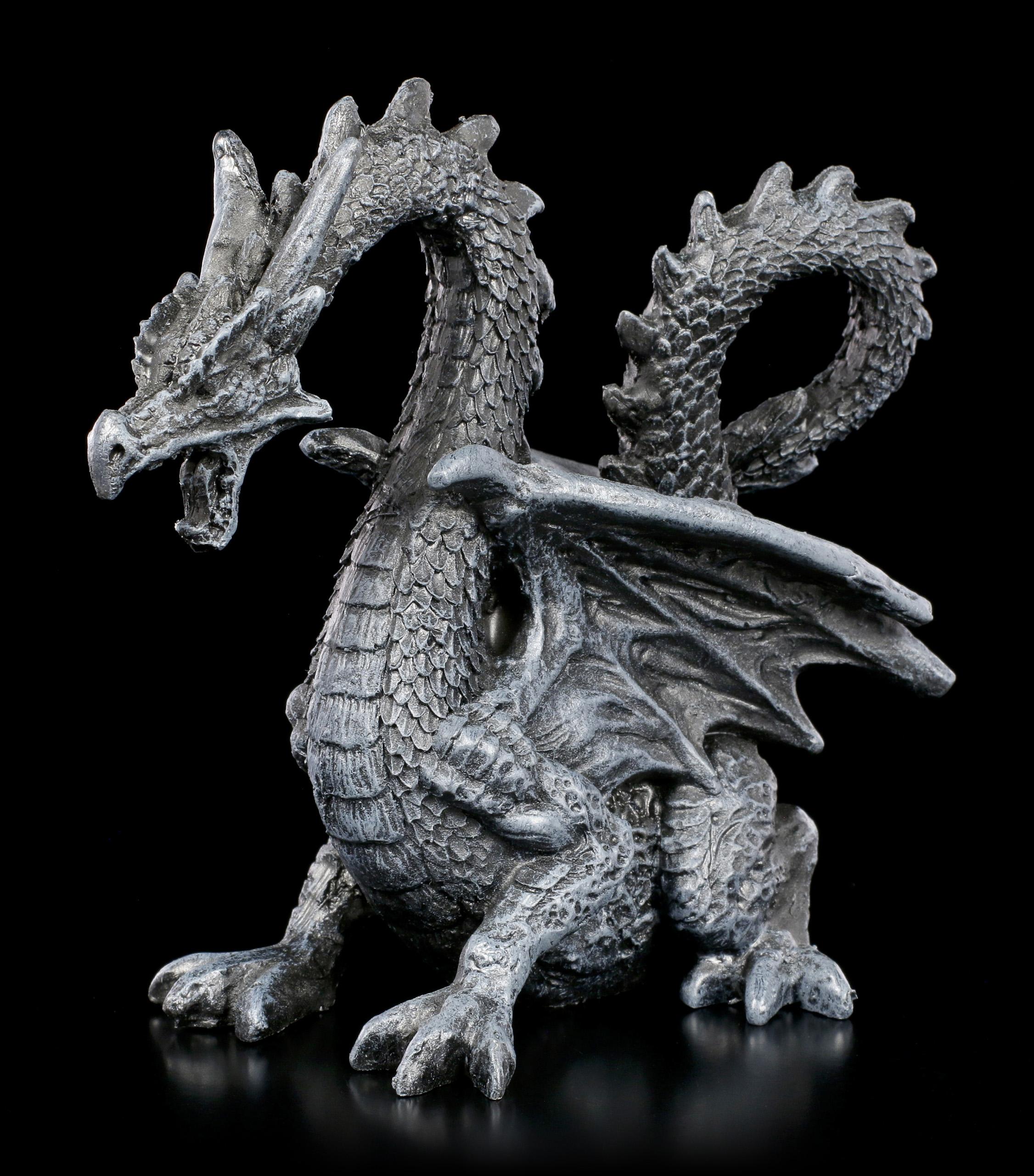 Drachen Figur mit Jungem und Kugel Drachenfigur Fantasy Gothic Deko