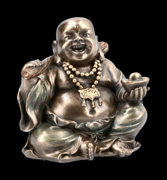 Happy Buddha Figurine with Bar and a Pearl