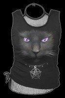 2in1 Netz Top - Black Cat