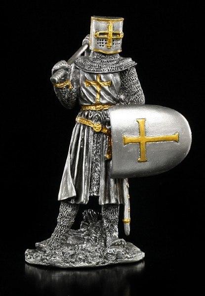 Zinn Ritter Figur mit Axt und Schild