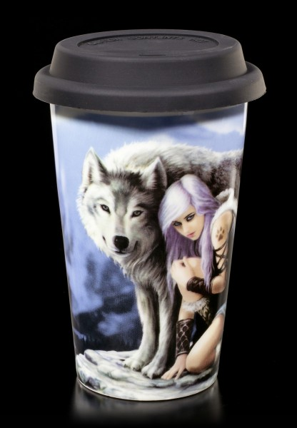 Ceramic Travel Mug - Wolf Protector