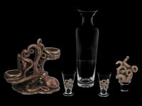 Steampunk Octopus Bottle & Glass Holder