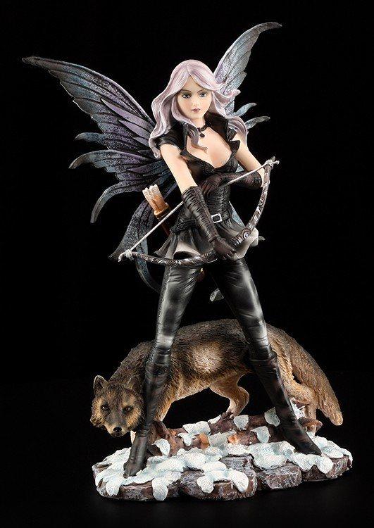 Elfen Figur - Bogenschützin mit Wolf