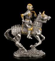 Zinn Ritter Figur mit Axt auf Pferd