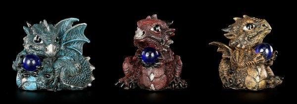 Kleine Drachen Figuren 3er Set - Aquamarin Ruby Citrene