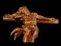 Wandrelief Kruzifix - Jesus am Kreuz in Holzoptik
