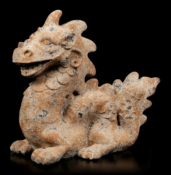 Chinese Dragon Garden Figurine XXL - Rust look