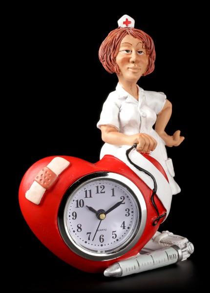 Funny Job Table Clock - Nurse with Heart