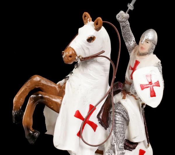Templer Figur - Kreuzritter auf Pferd