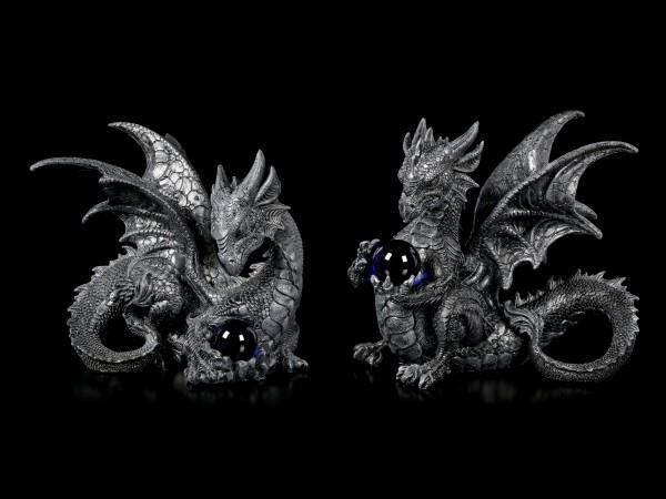 Black Dragon Figurines with Glass Ball - Set of 2