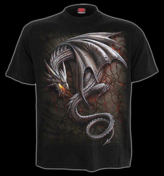 Vorschau: T-Shirt - Tribal Drache - Obsidian