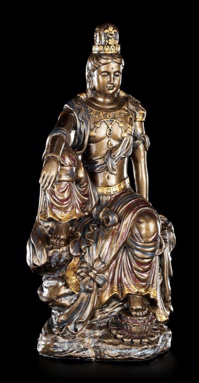 Buddha Figurine Guan Yin - bronze colored