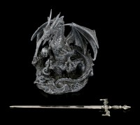 Dragon Letter Opener - Precious Sword - black
