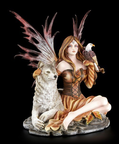 Fairy Figurine with Wolf and Eagle - Freedom