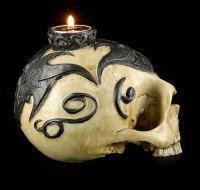 Teelichthalter - Totenkopf mit Tribals