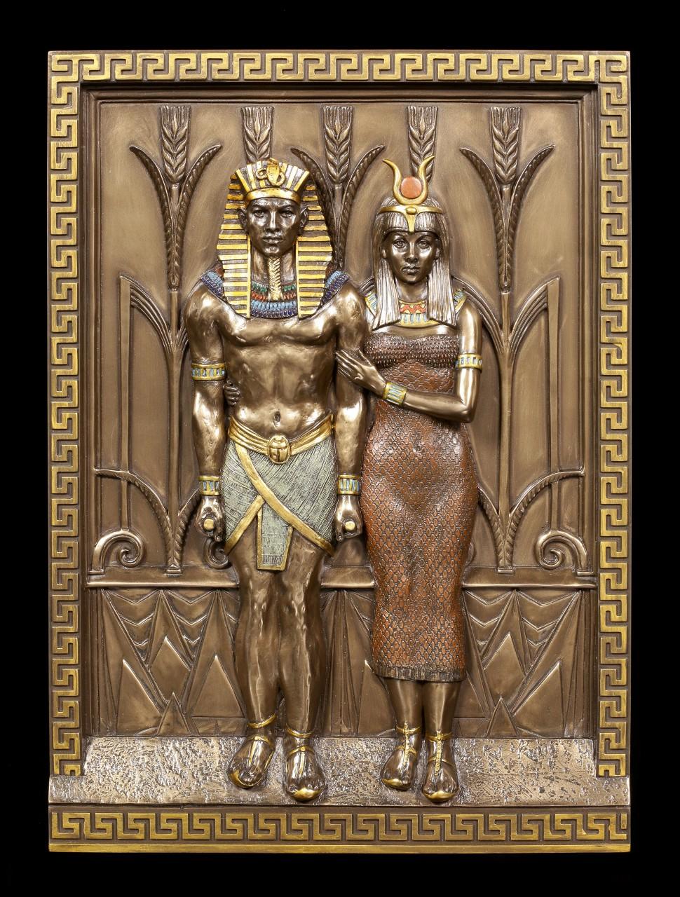 Ägyptisches Wandrelief - Pharao mit Königin