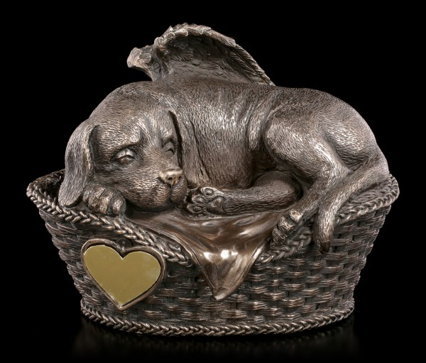 Animal Urn - Dog Angel with Gravure Plate