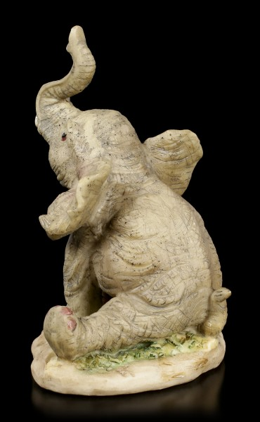 Elephant Figurine - Young sitting with raised Trunk
