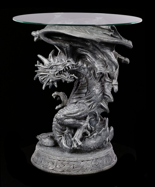 Dragon Table with Glass Plate - Fire Claw