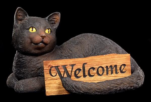Katzen Figur Willkommen - Welcome