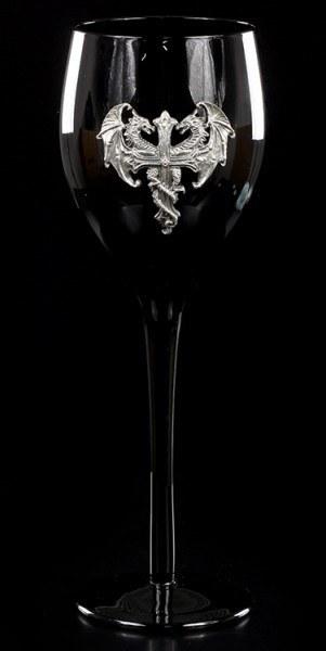 Schwarzes Weinglas - Drachen-Kreuz