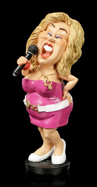 Funny Job Figurine - Female Singer with Microphone