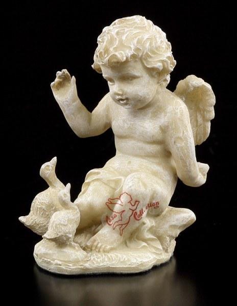 Engel Gartenfigur - Putte füttert Gänse