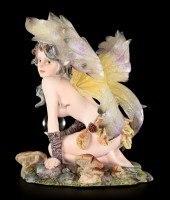 Gelbe Elfen Figur - Gilórin sitzend mit Glaskugel