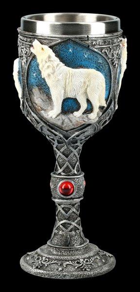 Fantasy Kelch - Einsamer Wolf heulend weiß