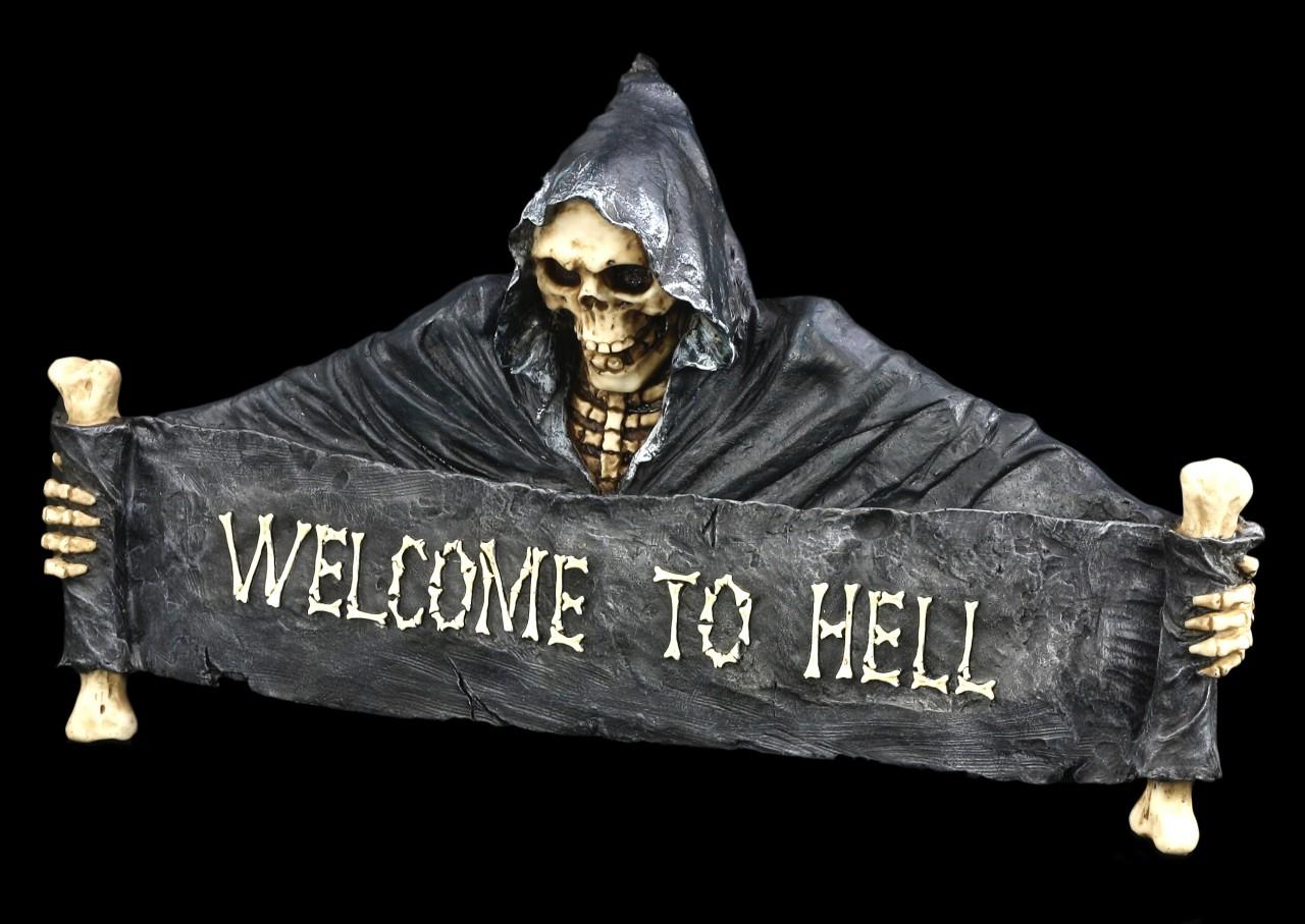 Skeleton Door Sign - Welcome to Hell