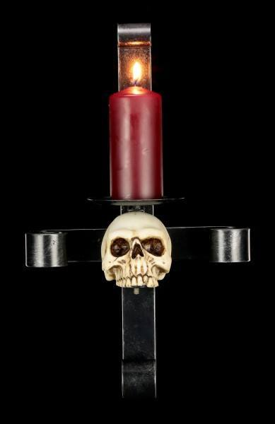 Wandkerzenhalter aus Metall - Totenkopf