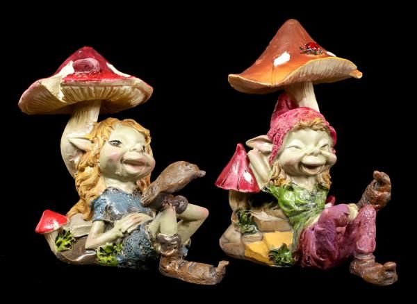 Pixie Figuren - Entspannen unterm Pilz - 2er Set