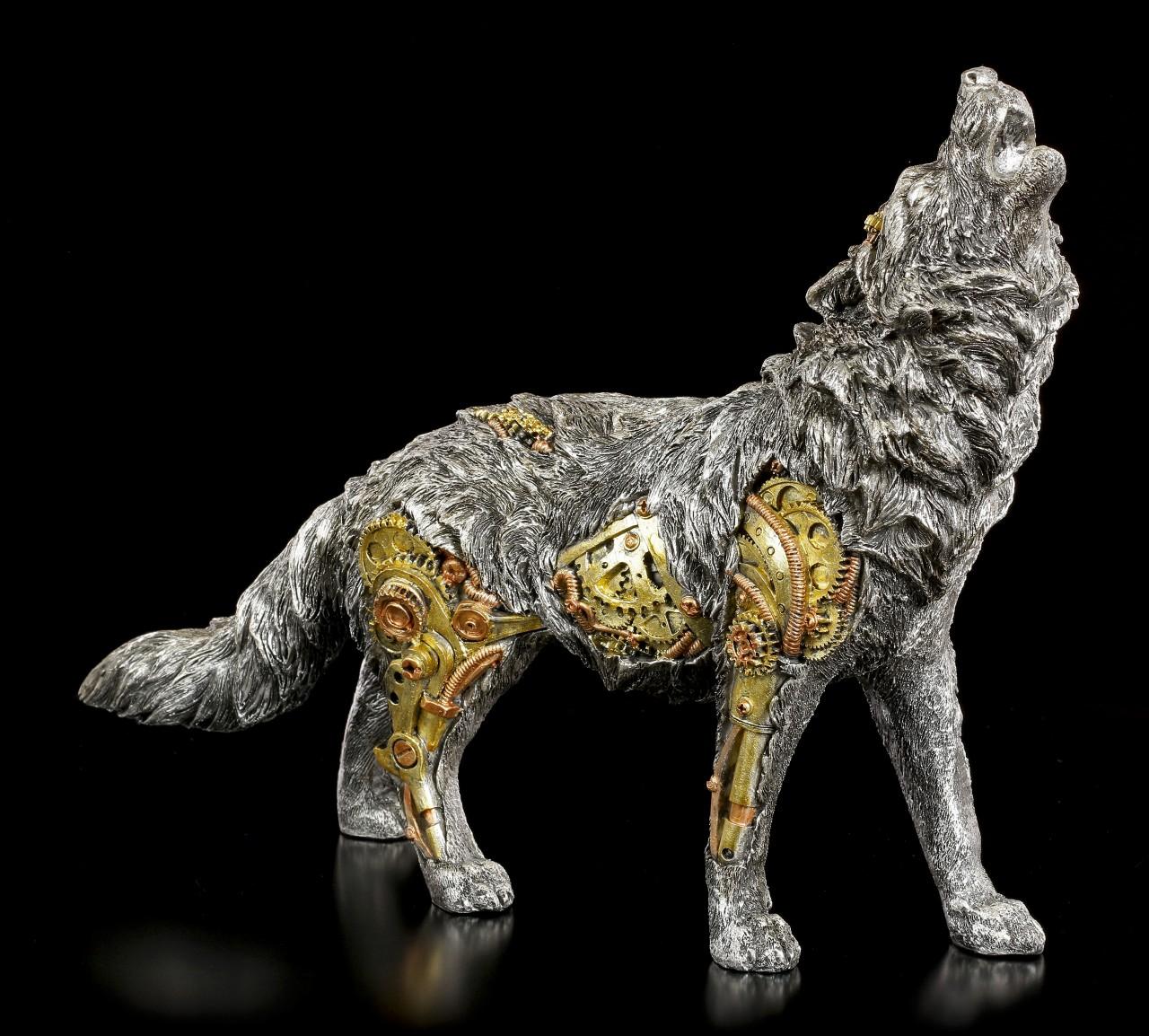 Steampunk Wolf Figurine - Mechanic Watcher