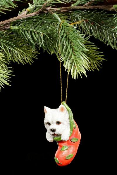 Christmas Tree Decoration Dog - Westie in Stocking