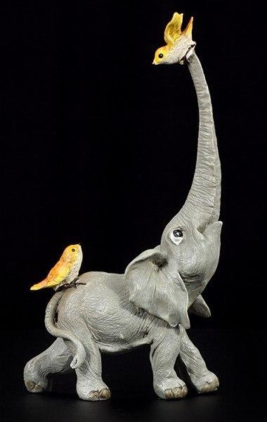 Elefanten Figur - Rüsselfant mit zwei Vögeln