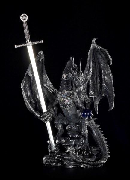 Drachen Figur groß - Schwarz mit Brieföffner