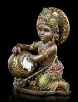 Baby Krishna Figurine steals Butter - bronzed