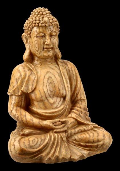 Buddha Figur in Holzoptik