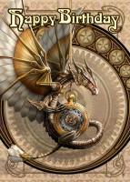 Geburtstagskarte Steampunk Drache - Clockwork Dragon