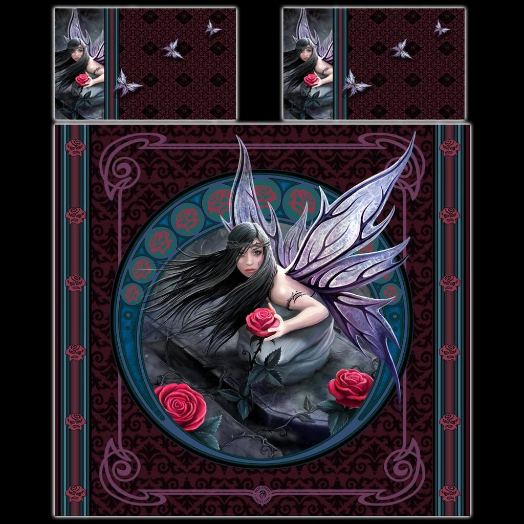 Fantasy Doppel Bettwäsche Elfe Rose Fairy By Anne Stokes
