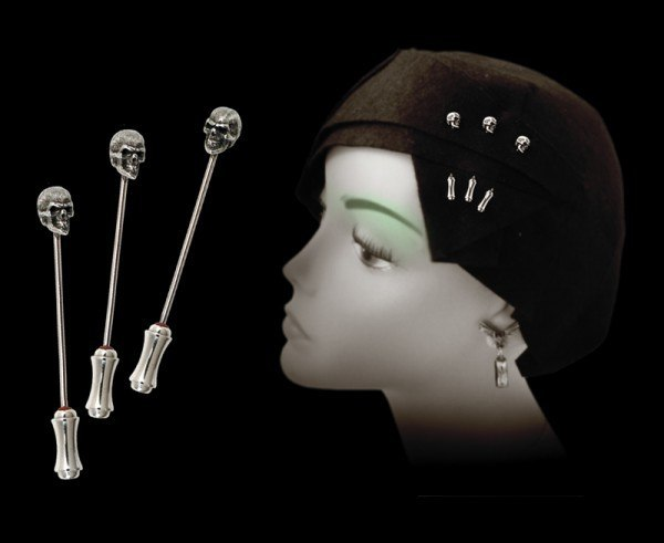 Alchemy Gothic - Memling Skull Dress Pins - Set of 3