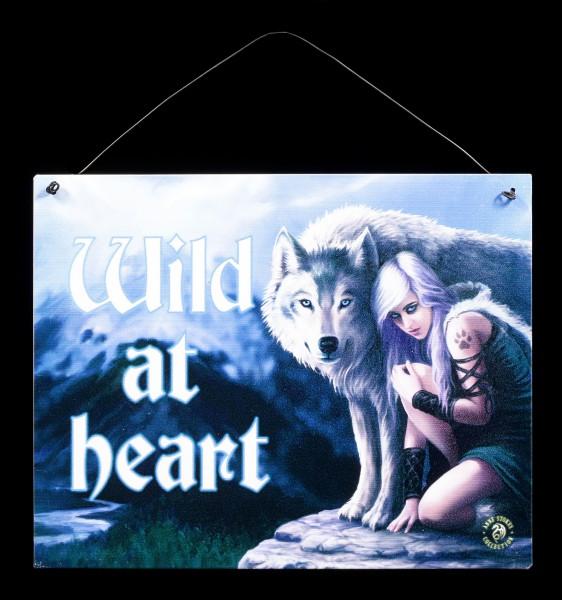 Protector Metall Schild mit Wolf - Wild at heart