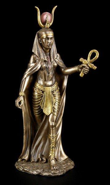Hathor Figur - Ägyptische Göttin - bronziert