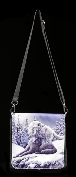 Shoulder Bag with Wolves - Snow Kisses - embossed