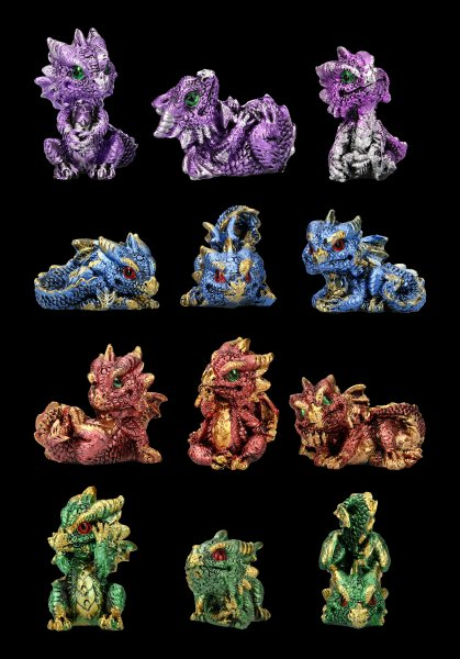 Mini Dragon Figurines - Set of 12