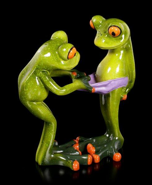 Funny Frog Figurines - Checking Pants