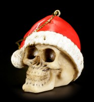 Christmas Tree Decorations - Set of 6 Skulls with Santa Hat
